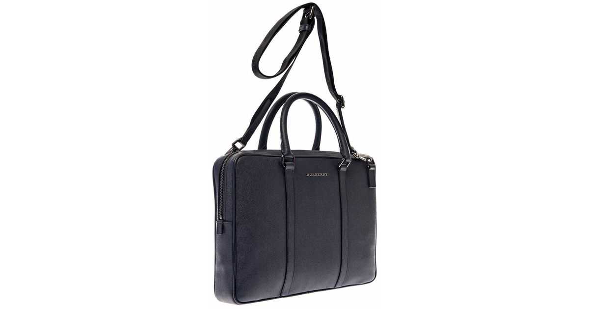 bd951ae54523 Lyst - Burberry Newberg Navy Leather Briefcase in Blue for Men