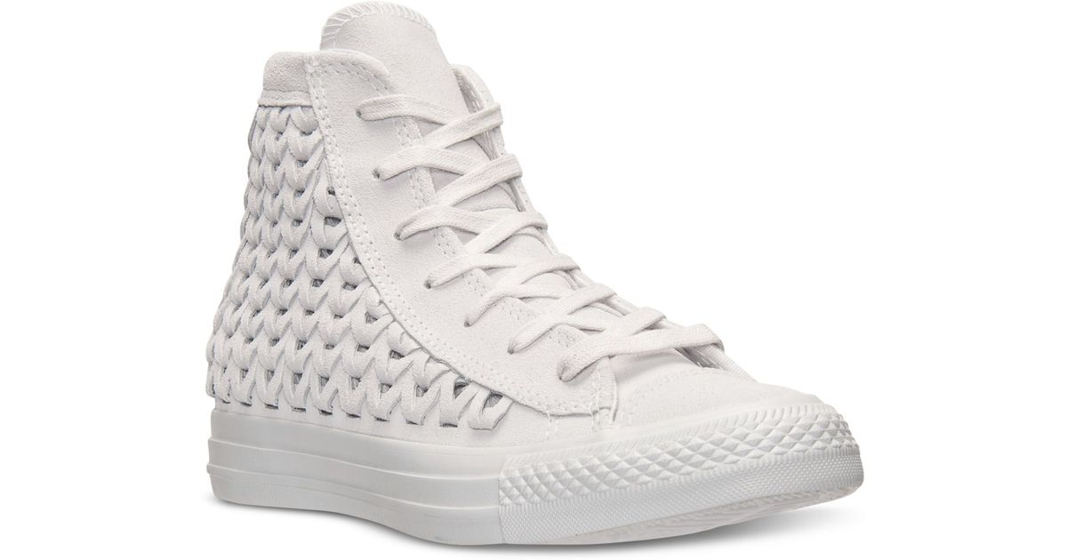 71fa88ec62f1 Lyst - Converse Women S Chuck Taylor All Star Elevated Woven Hi Casual  Sneakers From Finish Line in Natural
