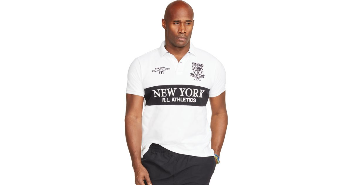 Pink pony classic fit rugby polo in white for men lyst for Big and tall polo rugby shirts
