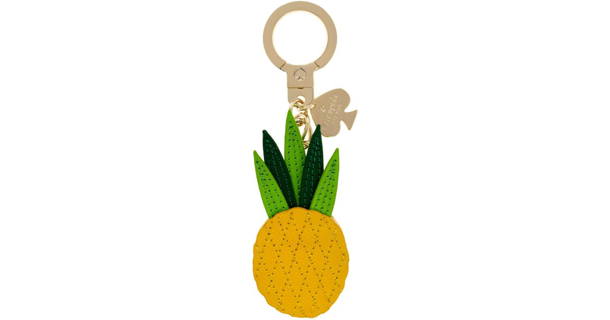 kate spade new york - Yellow Leather Pineapple Keychain - Lyst