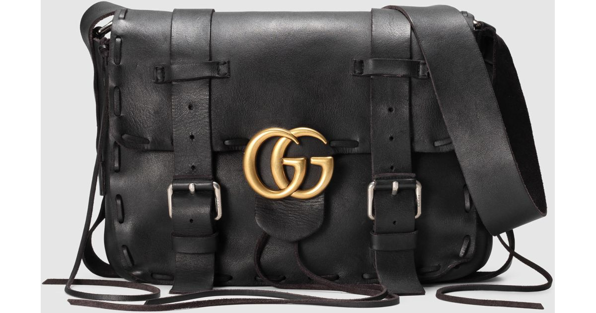 9735b602b Gucci GG Marmont Laced Leather Messenger in Black for Men - Lyst