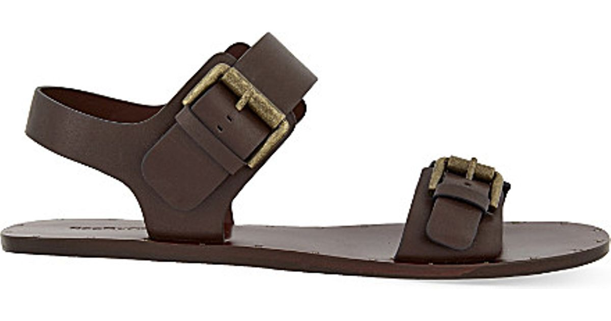 c1d363900f1 Lyst - See By Chloé Romy Flat Leather Sandals in Brown