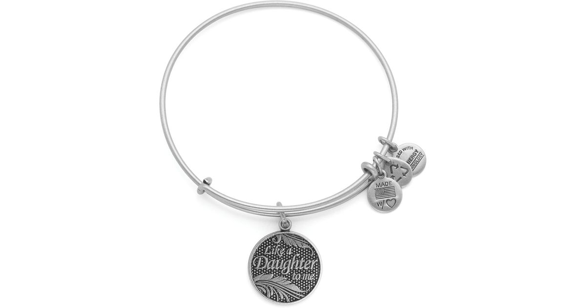 Lyst Alex And Ani Like A Daughter To Me Expandable Wire Bangle In Metallic
