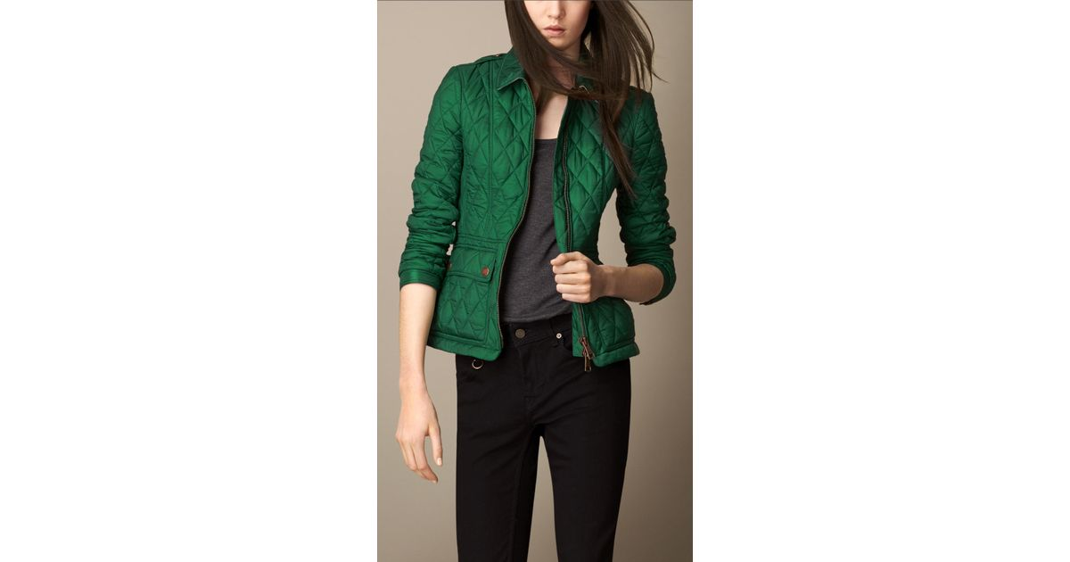 Burberry Fitted Diamond Quilt Jacket in Green | Lyst