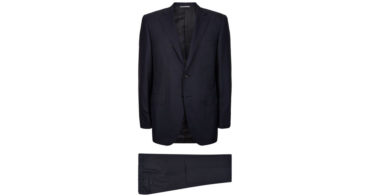 Navy Slim-fit Super 120s Wool Suit Trousers Canali