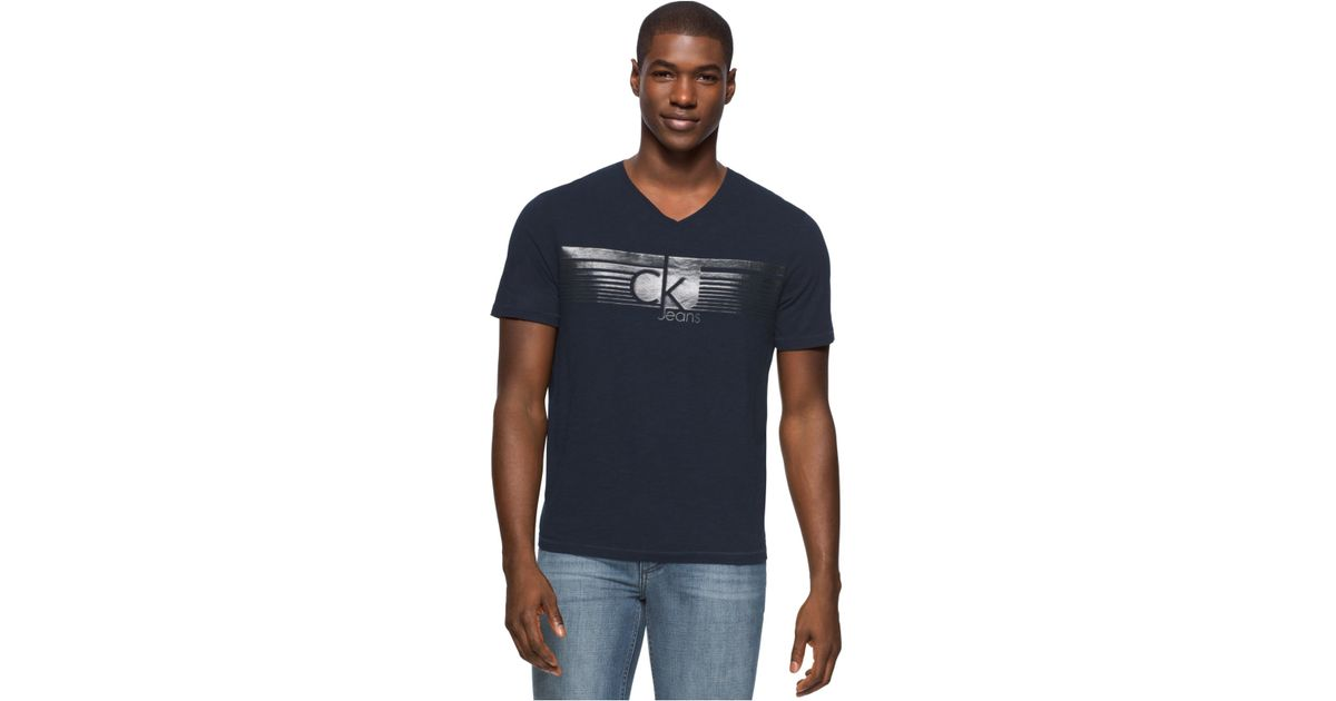 1b238f92a Calvin Klein Men's Lined Ckj Graphic-print Logo V-neck T-shirt in Blue for  Men - Lyst