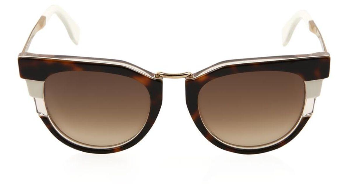1fba93b7ba65 Fendi Tortoiseshell Cat-Eye Sunglasses in Brown - Lyst