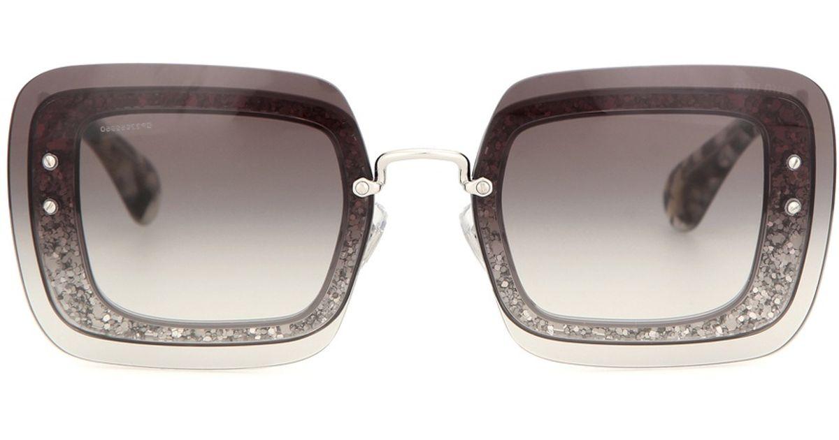 4db81cbe076 Lyst - Miu Miu Glitter Square Sunglasses in Brown
