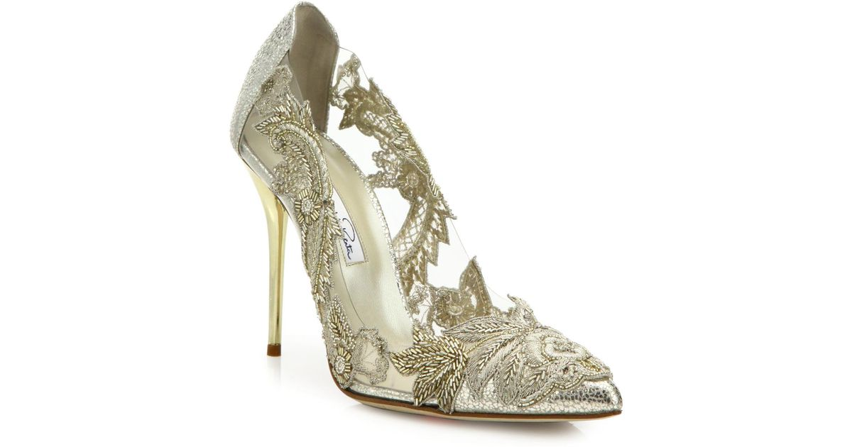 1e69ac603c1f Lyst - Oscar de la Renta Alyssa Beaded Metallic Leather   Pvc Pumps in  Metallic