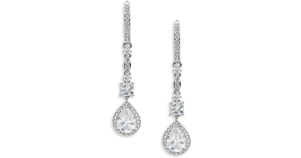 nadri cubic zirconia linear drop earrings in metallic