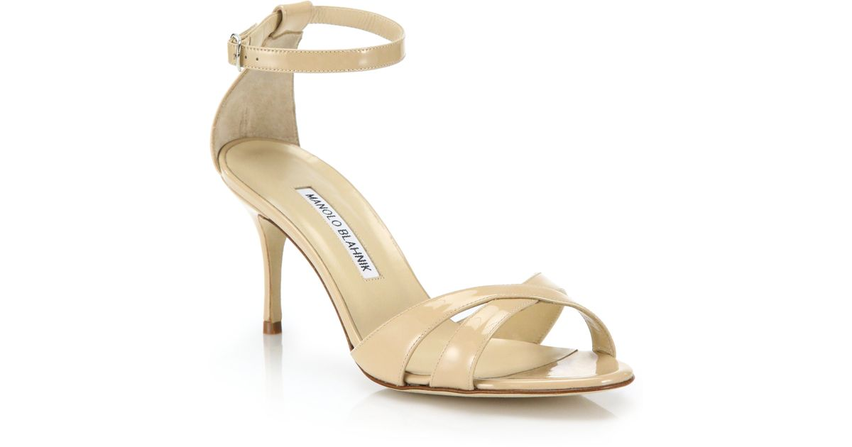 Manolo Blahnik Patent Leather Slingback Sandals sale low price fee shipping visa payment discount best prices fvBlG1
