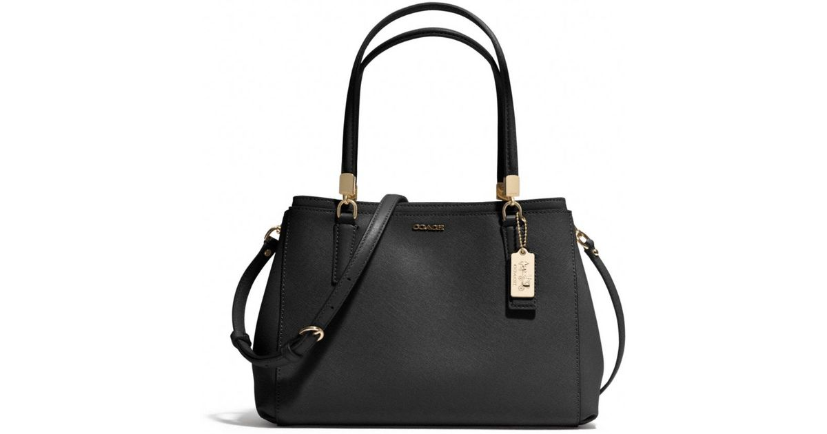 51c44c1c569a5 ... order lyst coach madison small christie carryall in saffiano leather in  black 71025 5b8dc