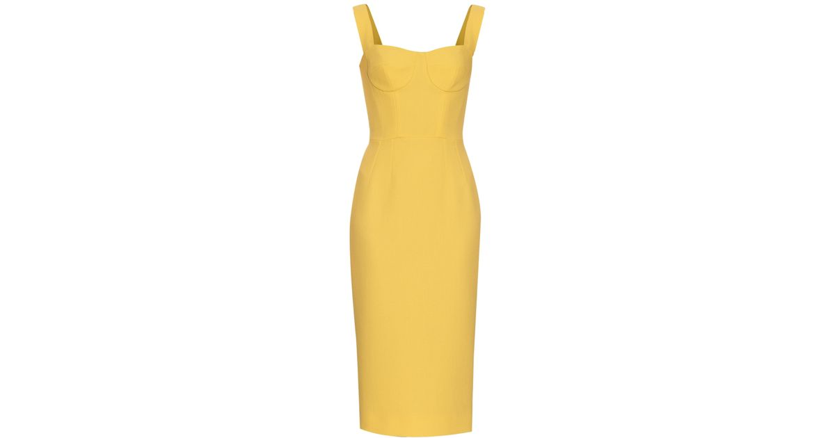 38e08c8f Dolce & Gabbana Yellow Open-Neck Wool and Crepe-Blend Dress in Blue - Lyst