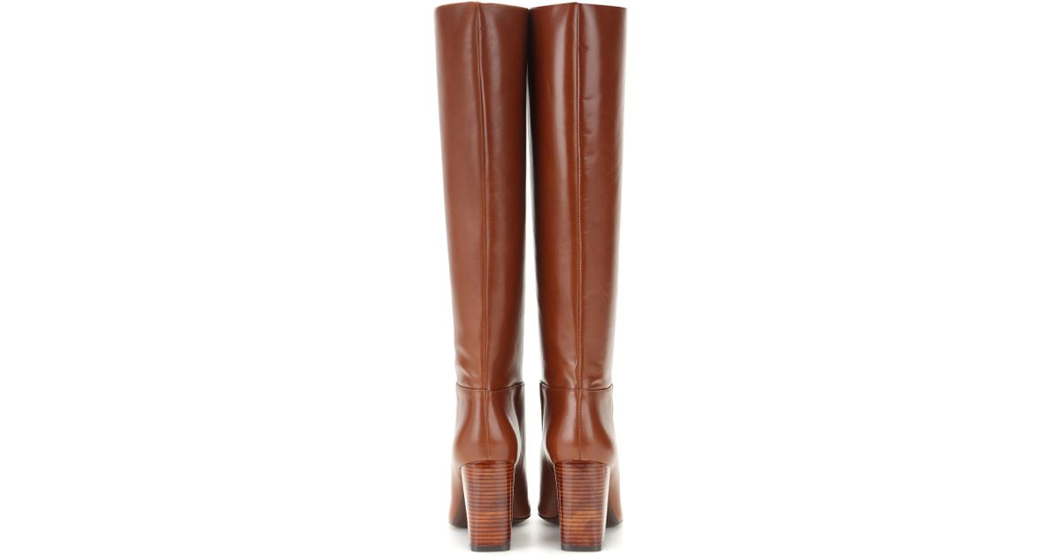 99ad62075 Lyst - Tory Burch Devon Leather Knee-High Boots in Brown