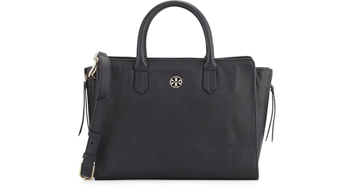 7a215598bd8 Lyst - Tory Burch Brody Small Leather Tote Bag in Black