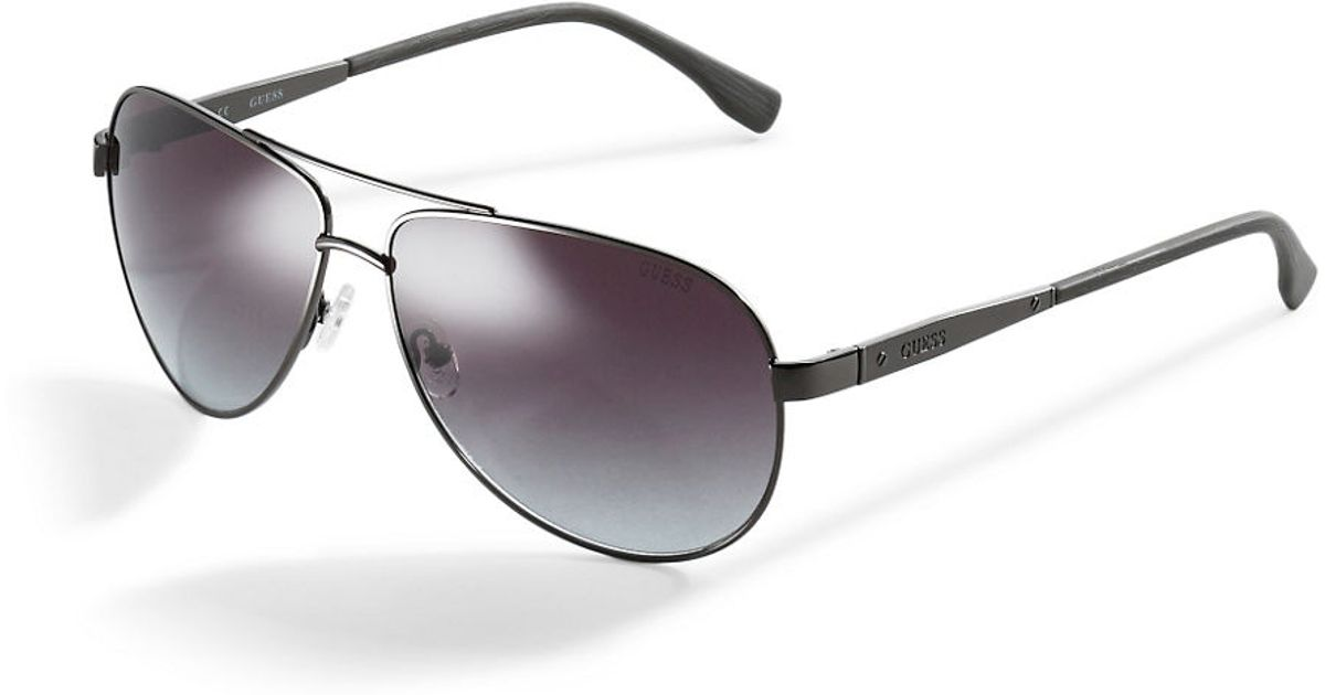 Guess Wire Frame Glasses : Guess Wire-frame Aviator Sunglasses in Black Lyst