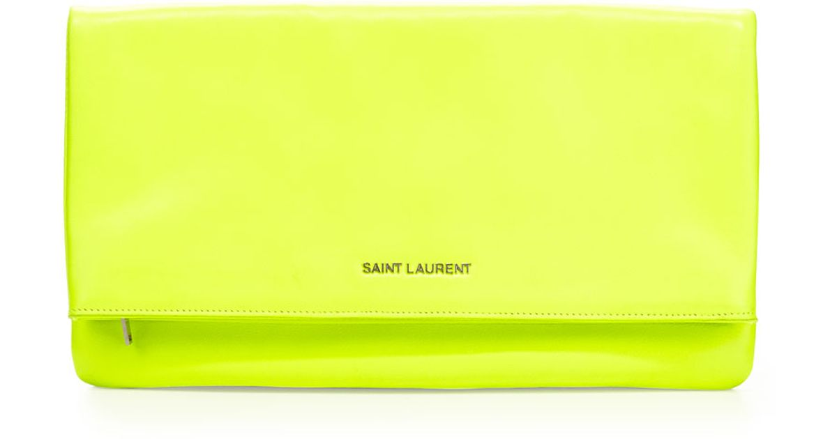 Lyst saint laurent letters large foldover clutch bag for Large neon letters