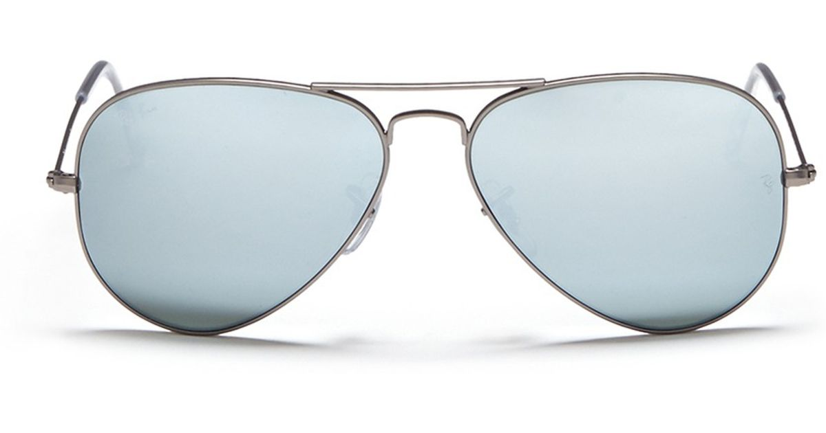Ray Ban Aviator Large Metal Mirror Sunglasses In Silver