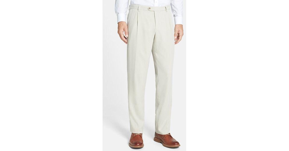 Tommy Bahama Havana Pleated Herringbone Silk Blend Pants