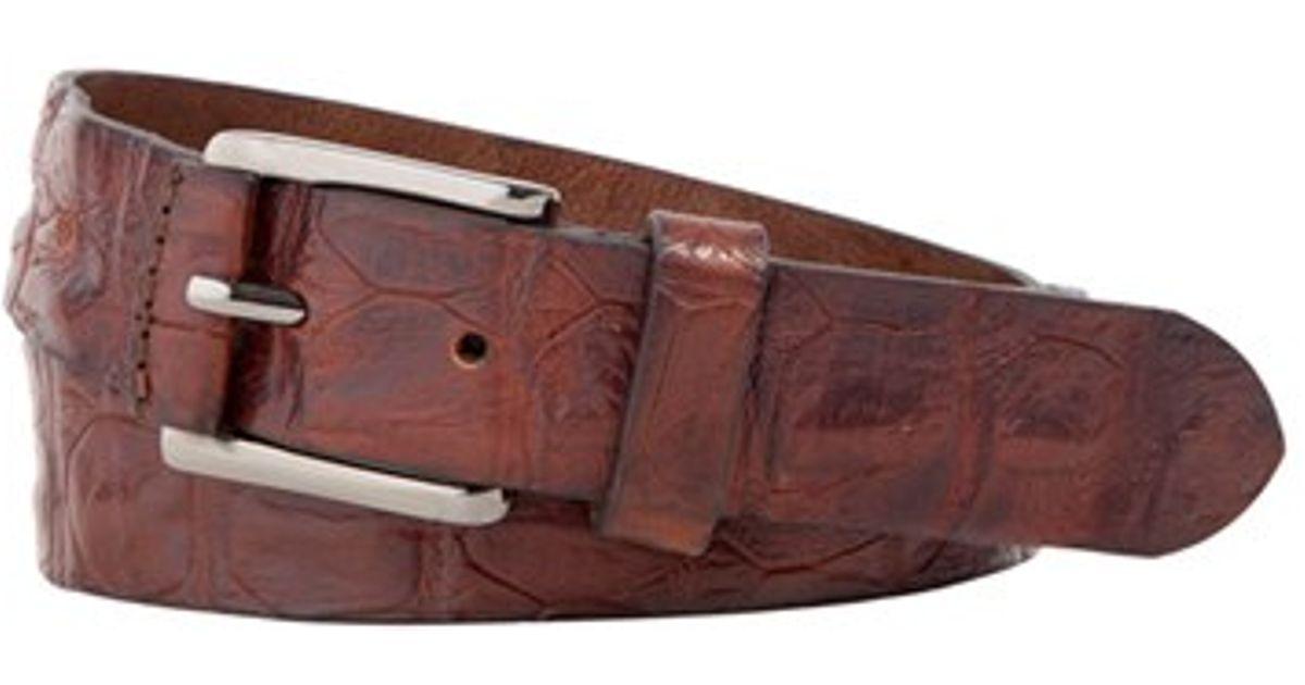 trafalgar strafford crocodile leather belt in brown for