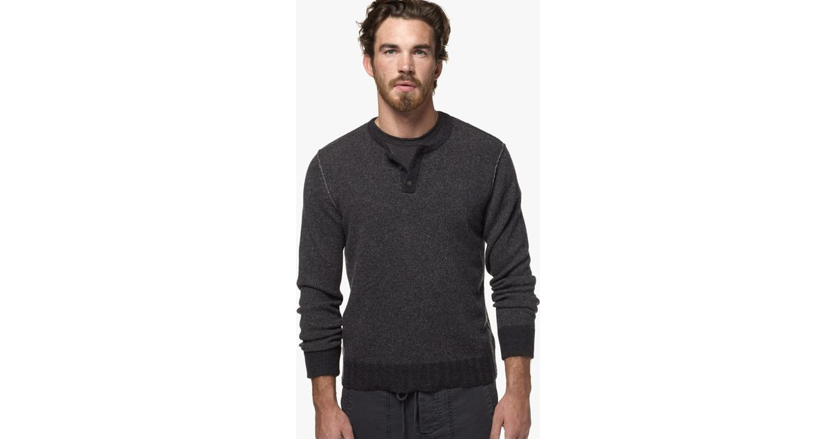 James Perse Cashmere Colorblocked Henley In Gray For Men