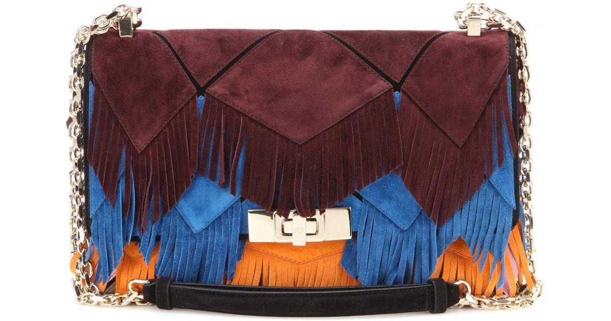 aaf9b668de2b Lyst - Roger Vivier Prismick Fringe-embellished Suede Shoulder Bag in Blue