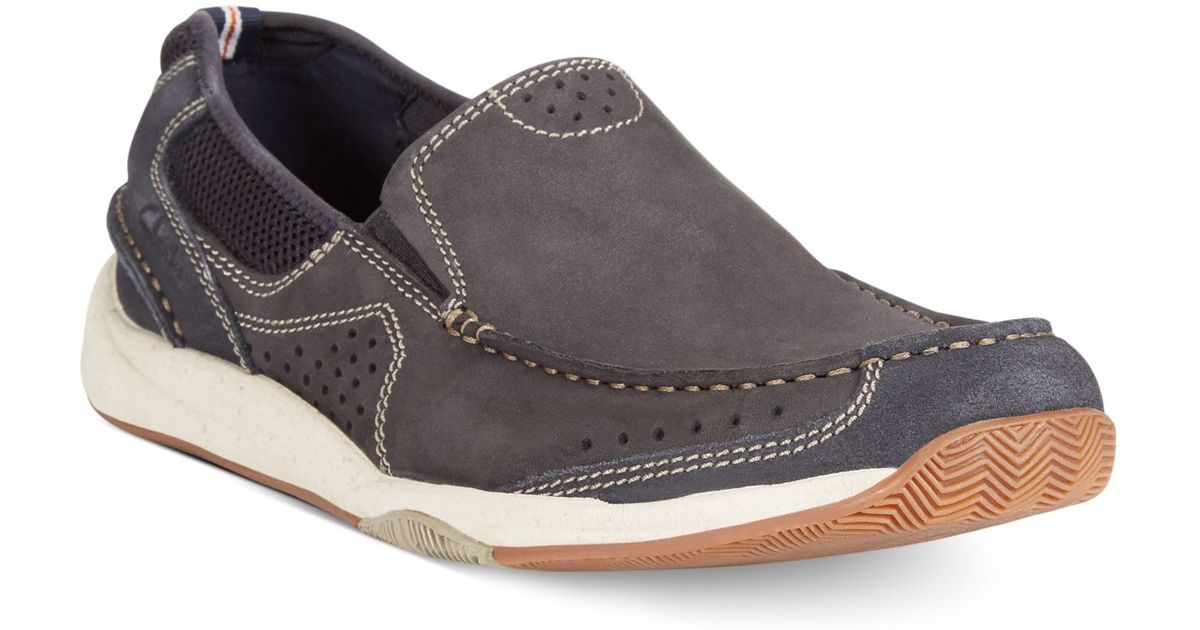 Clarks Men S Allston Free Slip On Boat Shoes In Blue For