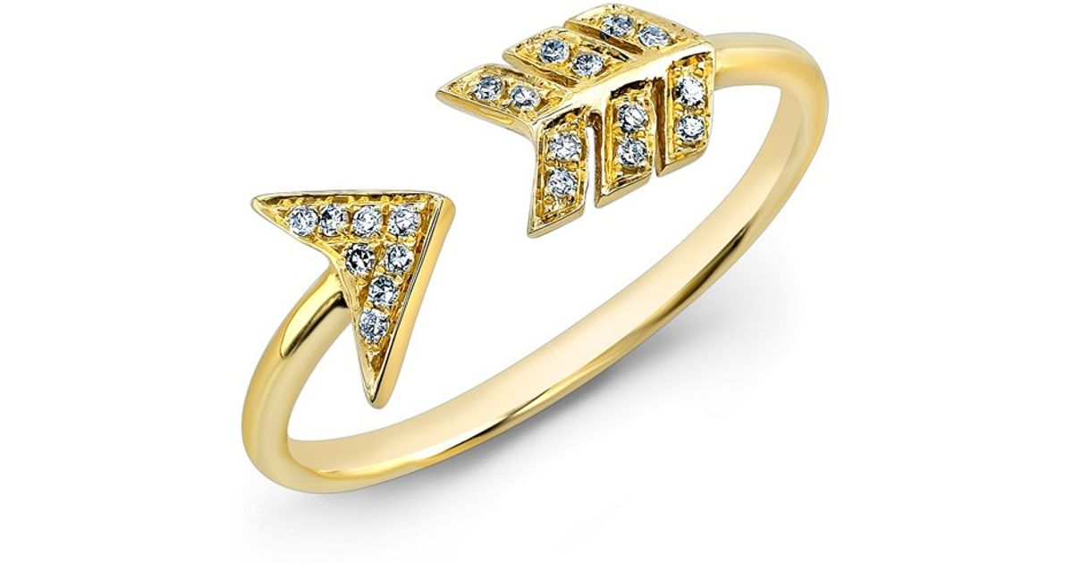 Anne sisteron 14kt yellow gold diamond arrow ring in for Jewelry storm arrow ring