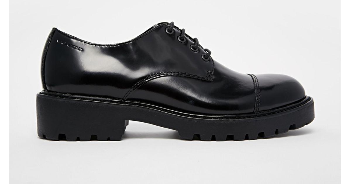 7a396d05814 Lyst - Vagabond Kenova Black Leather Flat Shoes in Black