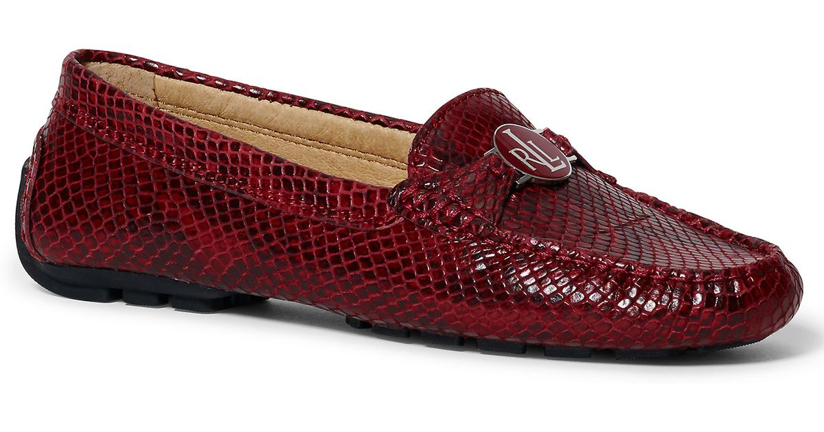 e3629c82c33 Lyst - Ralph Lauren Carley Python-embossed Loafer in Red