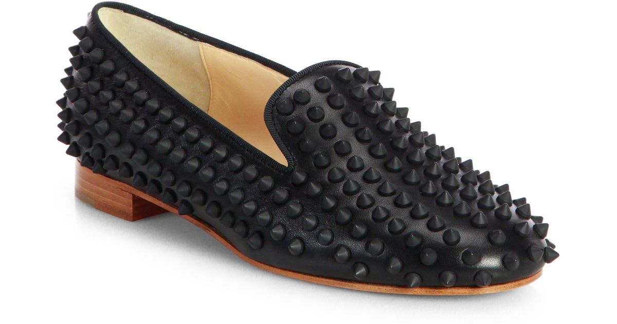 2f8d1dcf1bda Lyst - Christian Louboutin Rolling Spikes Loafers in Black