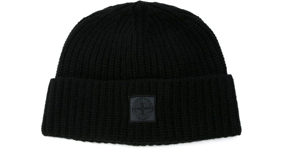 369ad7891823 Lyst - Stone Island Logo Patch Beanie in Black for Men