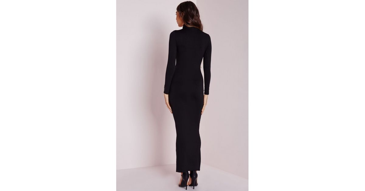 Lyst - Missguided Roll Neck Long Sleeve Bodycon Maxi Black in Black 222386af1