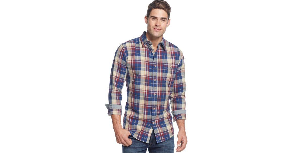 Weatherproof vintage long sleeve plaid twill shirt in blue for Weatherproof vintage men s lightweight flannel shirt