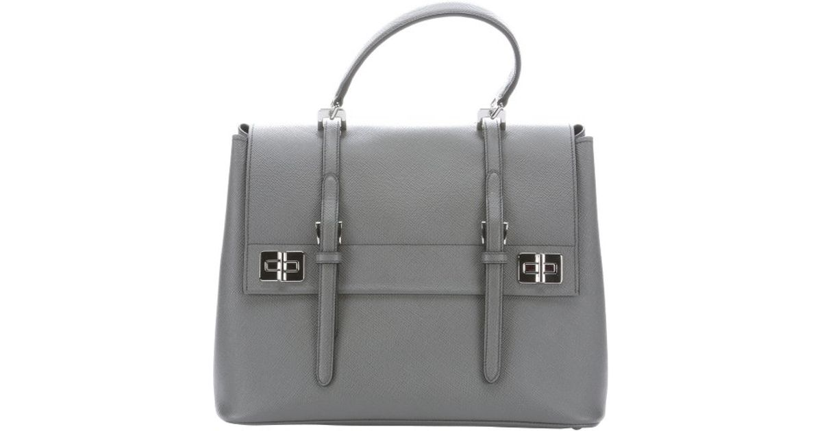 87808b8610cc ... order lyst prada marble grey leather buckle detail convertible tote bag  in gray 5999f 486ea