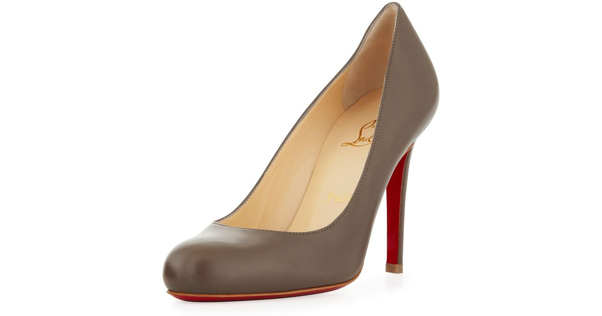 christian louboutin round-toe Simple Pumps Brown leather | Boulder ...