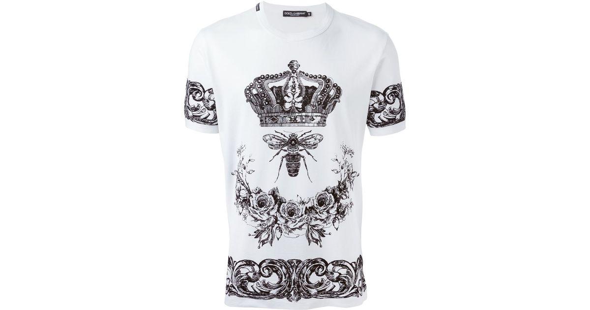 e134e027726 Dolce & Gabbana Crown & Bee Print T-shirt in White for Men - Lyst