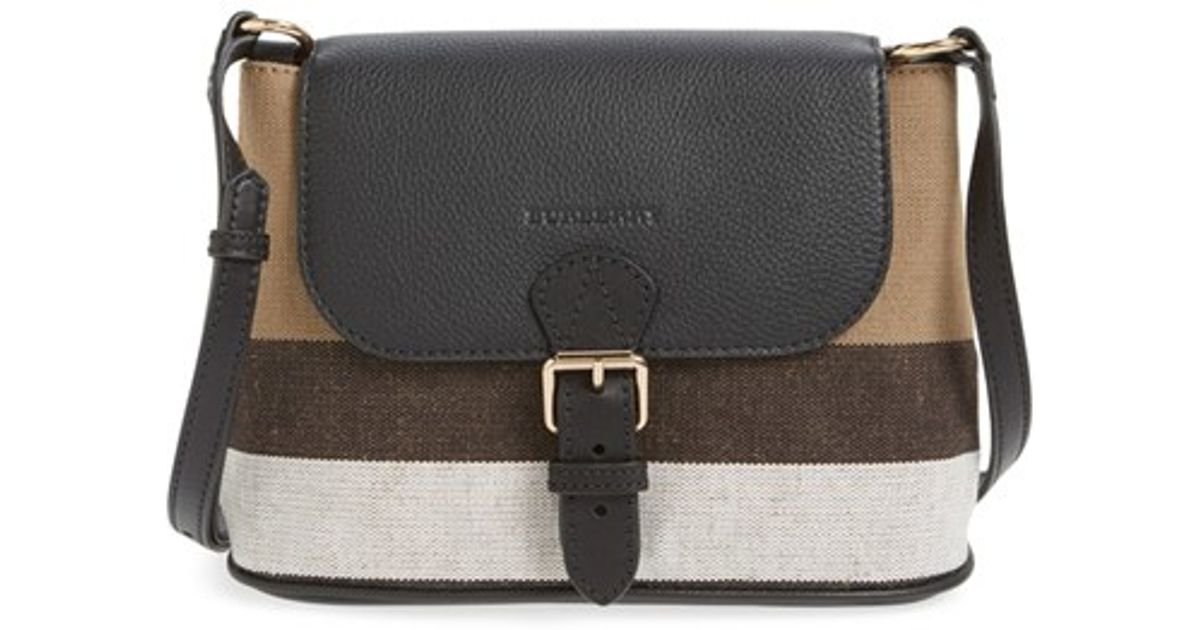 e46b7175c8e1 Lyst - Burberry  gowan  Canvas Check Print   Leather Crossbody Bag in  Natural