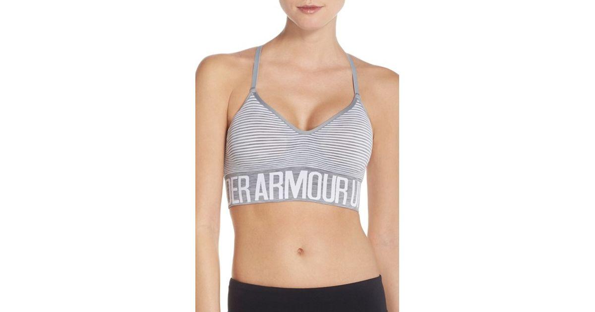 Under Armour Stripe Seamless Sports Bra in Gray - Lyst 05ae822c0