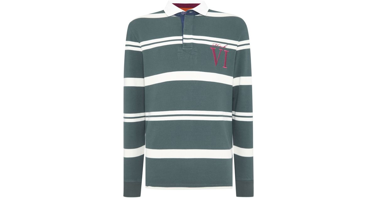 ba9d5b19fa5 Howick Tilston Stripe Long Sleeve Rugby Top in Green for Men | Lyst