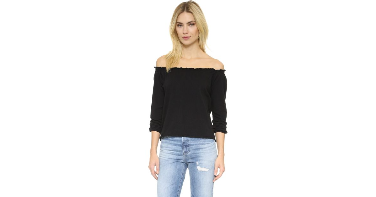 24483ad2fe8ee Lyst - Chaser Off Shoulder Cotton Peasant Blouse in Black