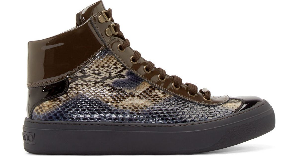 e49bf4dde227 Lyst - Jimmy Choo Navy Python Argyle High top Sneakers in Blue for Men