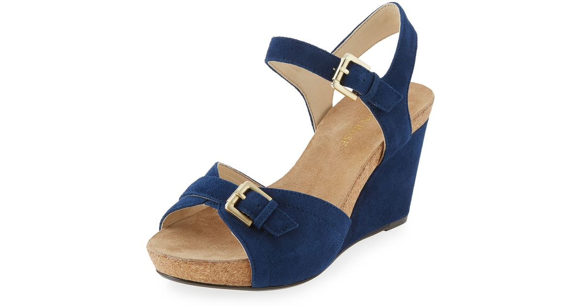 a0f4b3bde61e Lyst - Taryn Rose Takie Suede Double-strap Wedge Sandal in Natural
