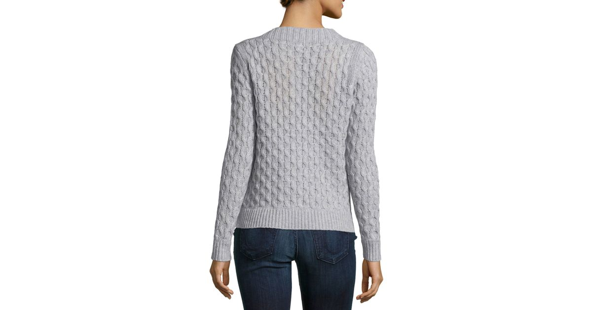 Stitch Knitted Sweater Together : Neiman marcus Open-stitch Cable-knit Pullover Sweater in Blue Lyst