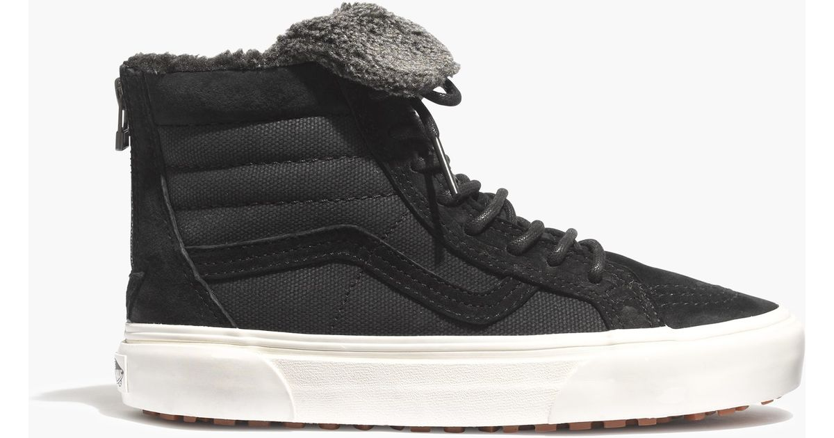 0211b3311b Lyst - Madewell Vans® Sk8-hi Slim Zip High-top Sneakers In Fleece in Black