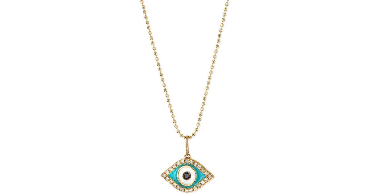 sydney evan 14k evil eye pendant necklace in blue