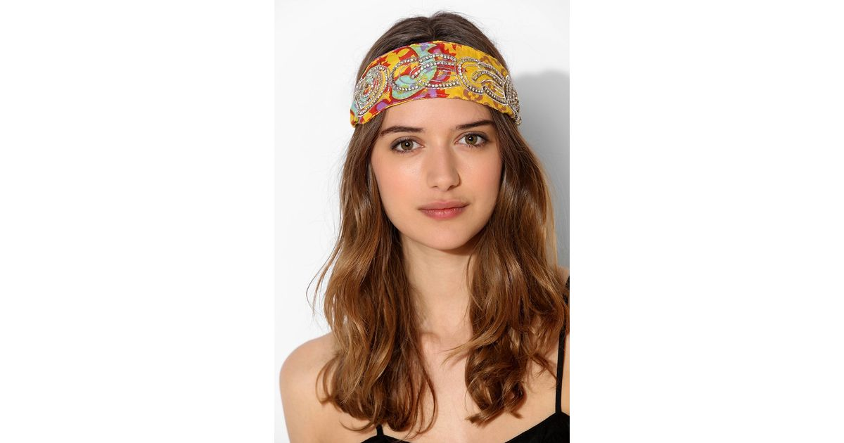 Lyst - Urban Outfitters Bali Jeweled Headwrap in Yellow e9ec4026b50