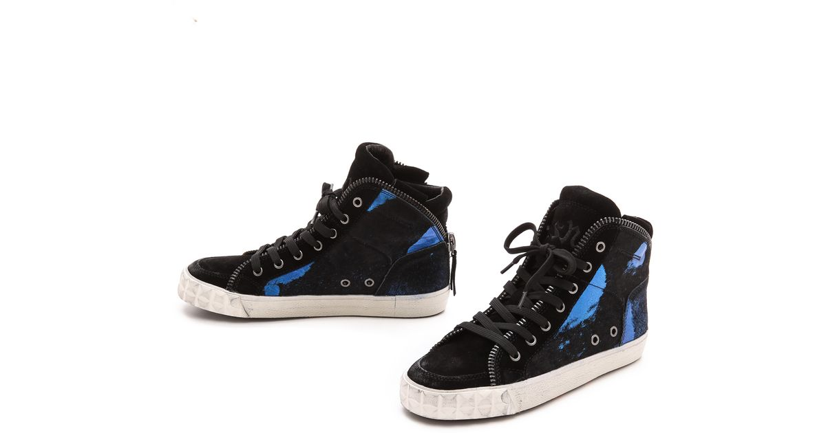 4f42f0fa499e0 Lyst - Ash Shake Bis Haircalf High Top Sneakers - Black Black Blue Black in  Blue
