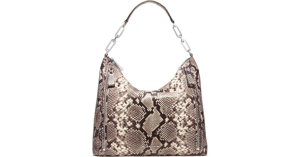 ffed56e2bcd3 Lyst - Michael Kors Matilda Large Embossed-leather Shoulder Bag in Natural
