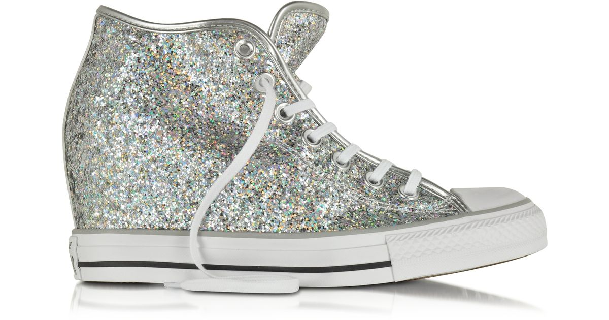 9af48906a8f827 Lyst - Converse All Star Mid Lux Glitter Wedge Sneaker in Gray